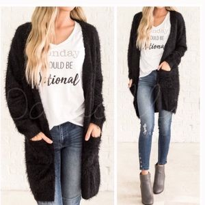 NWT Soft Black Fuzzy Cardigan Sweater/Coat | S